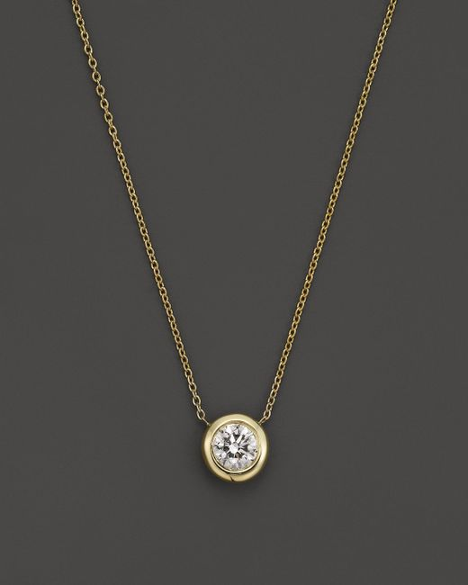 "Roberto Coin   Metallic 18k Yellow Gold Diamond Bezel Necklace, 16""   Lyst"