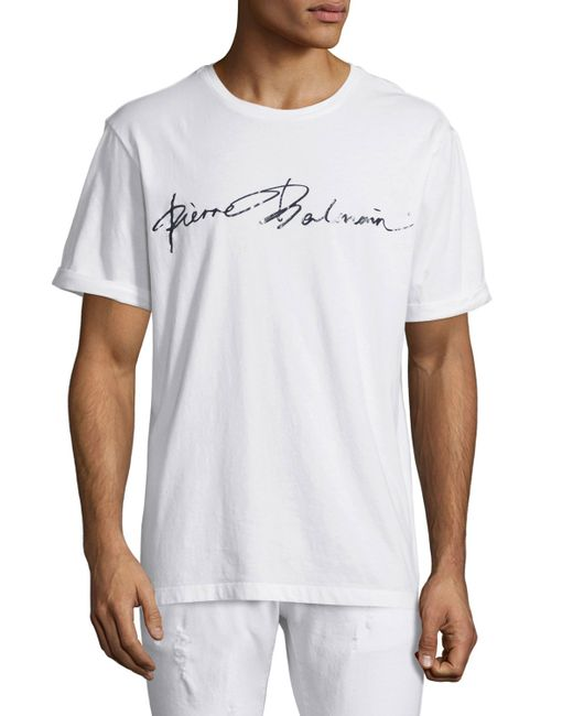 Balmain script logo short sleeve t shirt in white for men for Balmain white logo t shirt