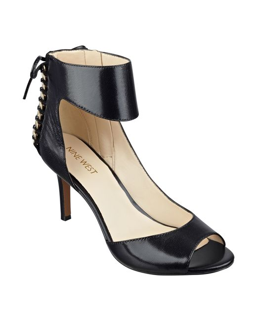 Nine West | Black Instruct Peep Toe Sandals | Lyst