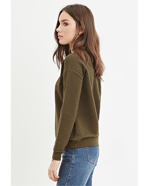 Forever 21 | Green Quilted Ribbed Sweatshirt | Lyst