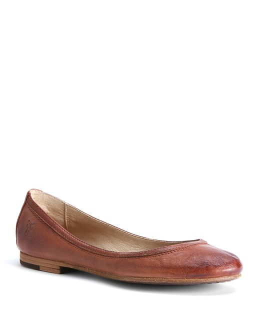 Frye | Brown Carson Leather Ballet Flats | Lyst