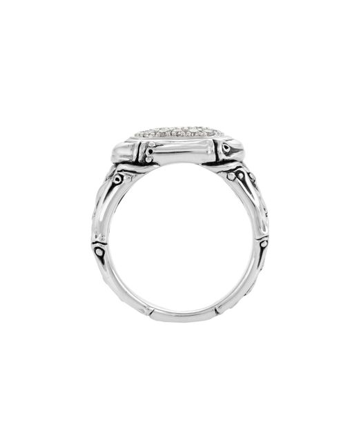 John Hardy | Metallic Bamboo Diamond Oval Pave Ring | Lyst