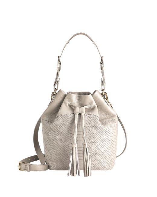 Gigi New York | Beige Jenn Python-embossed Leather Bucket Bag | Lyst
