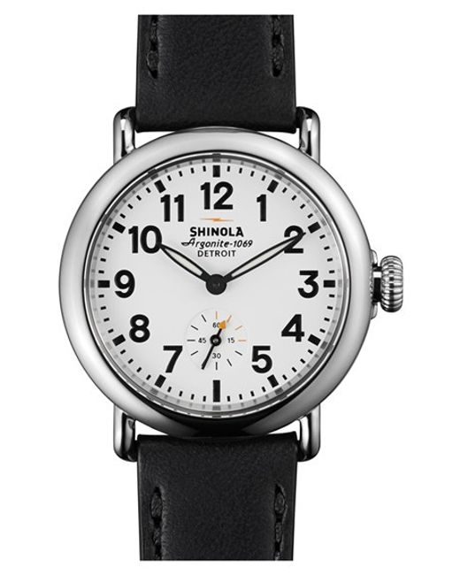 Shinola | Black 'the Runwell' Leather Strap Watch | Lyst