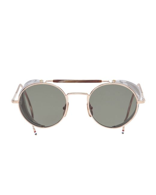Round Gold Frame Sunglasses By Thom Browne : Thom browne Round Frame Sunglasses in Gold (metallic) Lyst