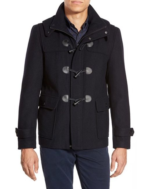 Michael Kors | Blue Wool Blend Duffle Coat With Removable Hood for Men | Lyst
