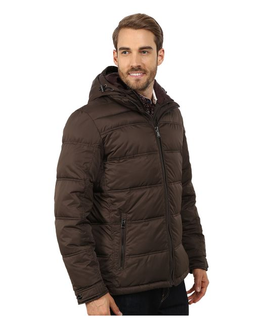 Perry Ellis | Brown Poly Zip Front Puffer for Men | Lyst