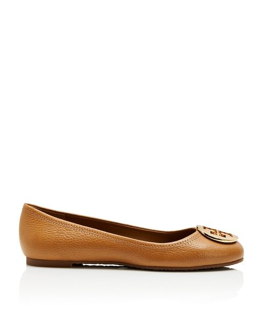 Tory Burch   Brown Reva Leather Ballet Flats   Lyst