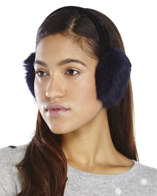 Surell | Blue Real Rabbit Fur Earmuffs | Lyst