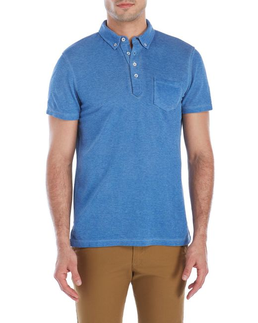 Benson patch pocket button down polo in blue for men lyst for Polo shirts without buttons