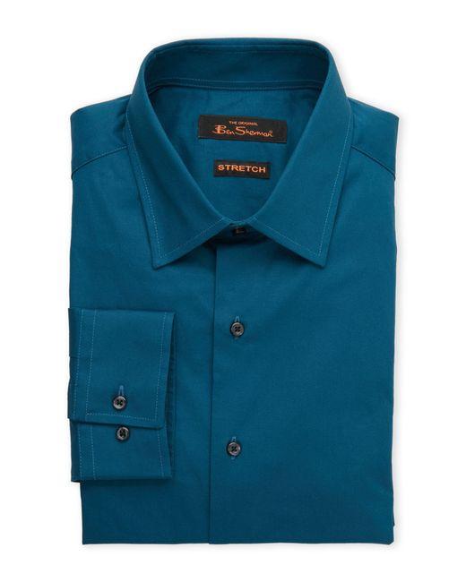 Ben Sherman Solid Teal Stretch Dress Shirt In Blue For Men