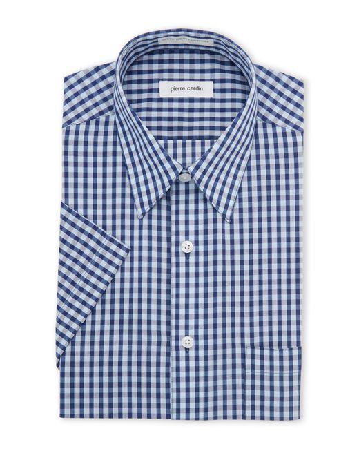 century 21 blue navy check short sleeve dress shirt in