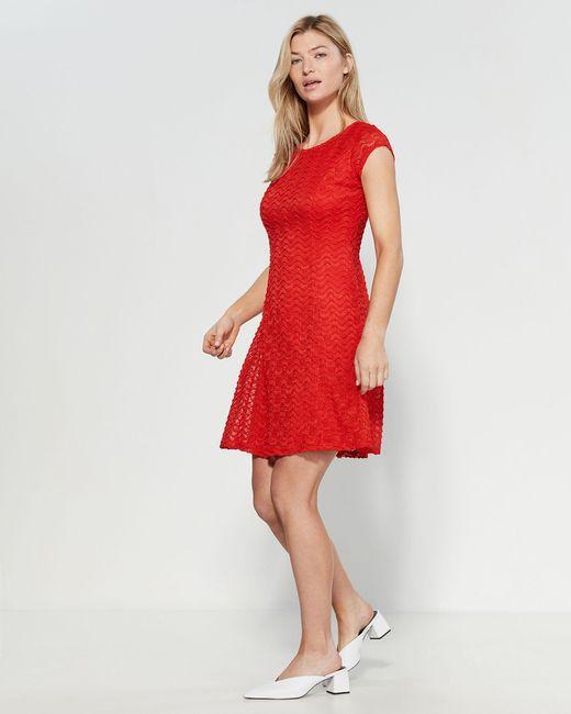 b287fb75de5e Sharagano - Red Eyelet Sheath Dress - Lyst ...