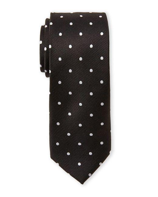 Pierre Cardin | Black Silk Polka Dot Slim Tie for Men | Lyst