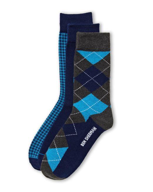 Ben Sherman | Blue 3-Pack Assorted Pattern Socks for Men | Lyst