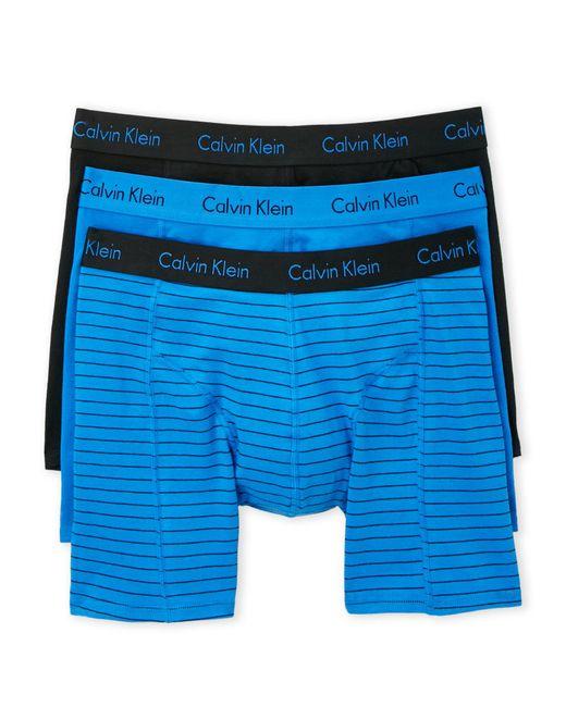 Calvin Klein | Blue 3-Pack Cotton Comfort Fit Boxer Briefs for Men | Lyst