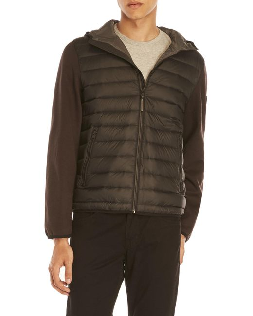 Michael Kors | Black Mix Media Quilted Down Hoodie for Men | Lyst