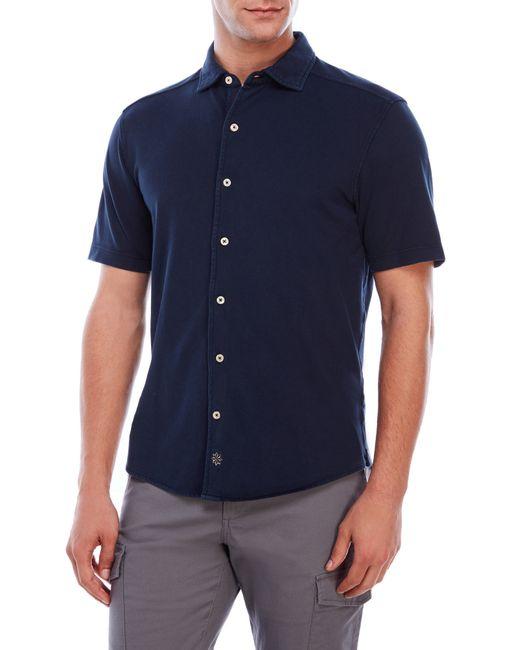 Thaddeus button front pique polo shirt in blue for men lyst for No button polo shirts