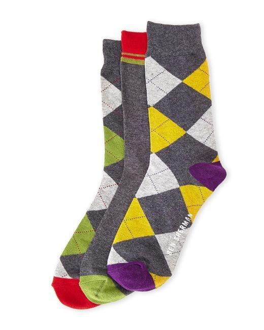 Ben Sherman | Gray 3-Pack Argyle Crew Socks for Men | Lyst