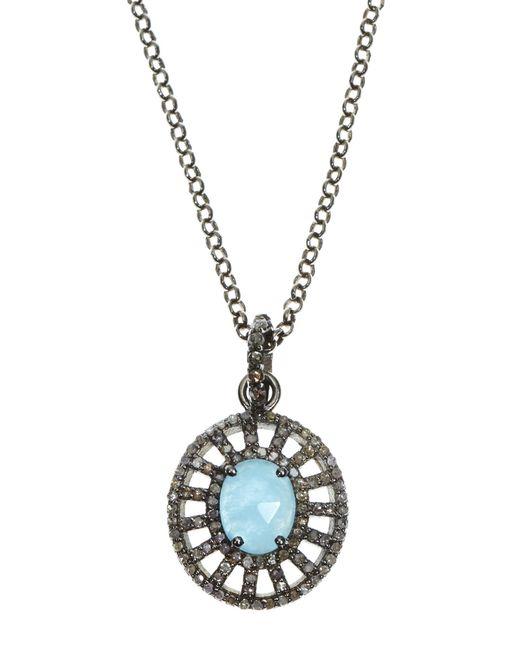 Bavna | Multicolor Sterling Silver Aquamarine & Diamond Pendant Necklace | Lyst