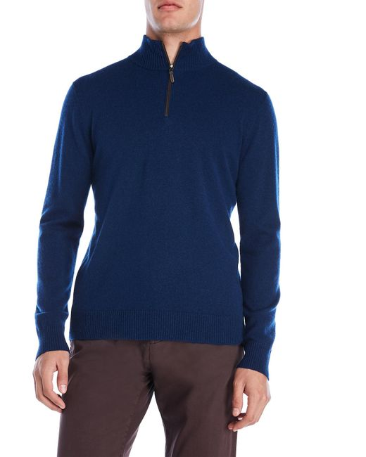 Qi - Blue Suede Trim Quarter-zip Cashmere Sweater for Men - Lyst