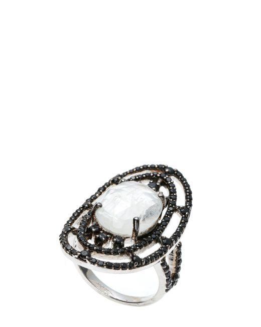 Bavna | Multicolor Sterling Silver Black Spinel & Moonstone Ring Size 7.25 | Lyst