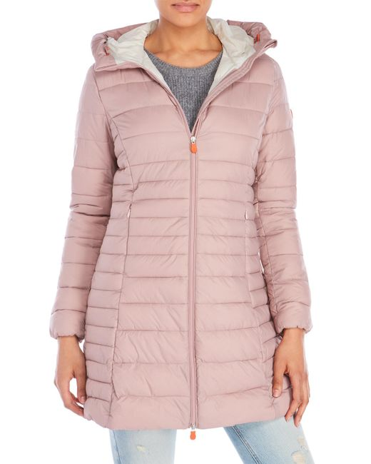 Save The Duck | Pink Hooded Packable Down Coat | Lyst
