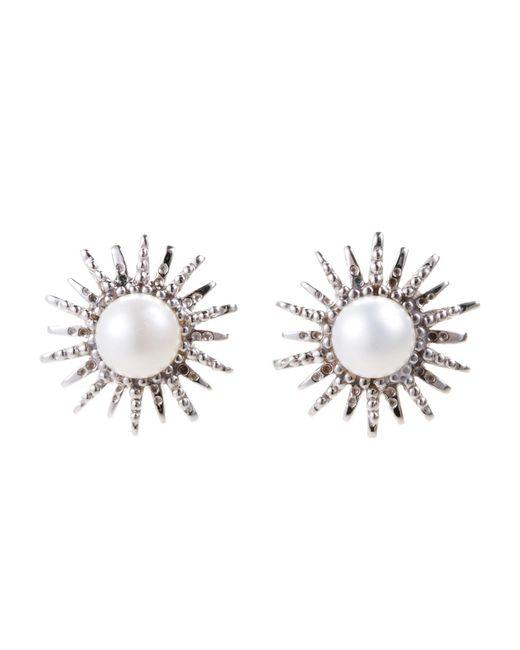 Anzie - Metallic Sterling Silver & Freshwater Pearl Sunburst Earrings - Lyst