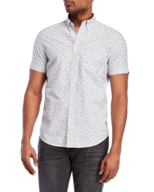 Ben Sherman - Gray Printed Short Sleeve Button-down Shirt for Men - Lyst