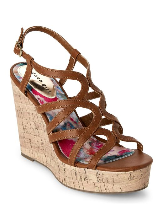 Madden Girl   Brown Cognac Paris Elmaa Cork Platform Wedge Sandals   Lyst