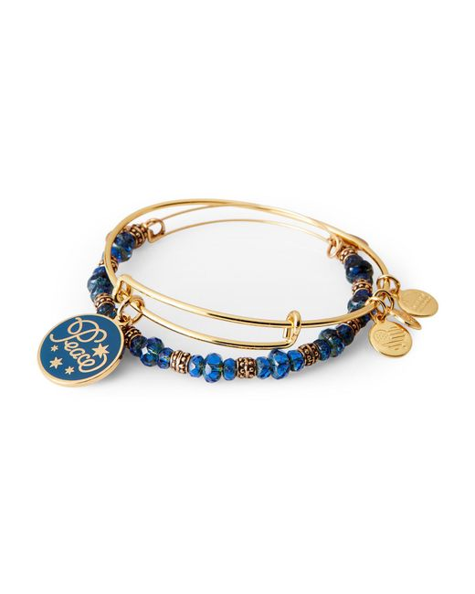 ALEX AND ANI - Two-Piece Gold-Tone & Blue Peace Bangle Set - Lyst