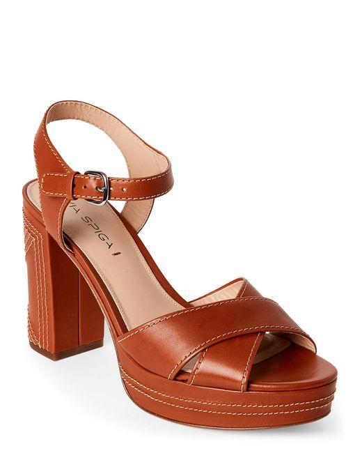 Via Spiga | Brown Cognac Brianna Platform Block Heel Sandals | Lyst