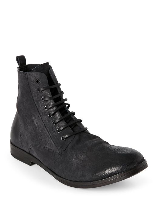 mars 232 ll black distressed leather lace up boots in black