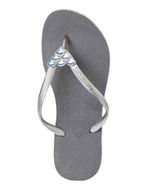 3466df6a8aa ... Havaianas - Gray Steel Grey Slim Mermaid Sandals - Lyst