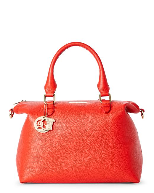Versace | Red Coral Pebbled Leather Satchel | Lyst
