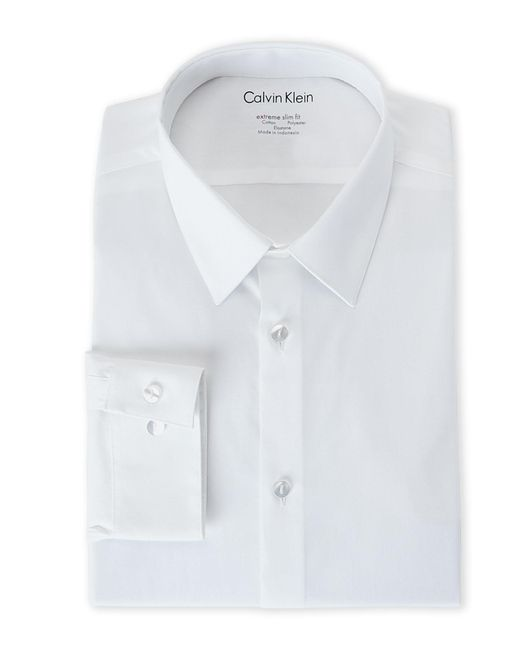 Calvin Klein - White Extreme Slim Fit Stretch Dress Shirt for Men - Lyst