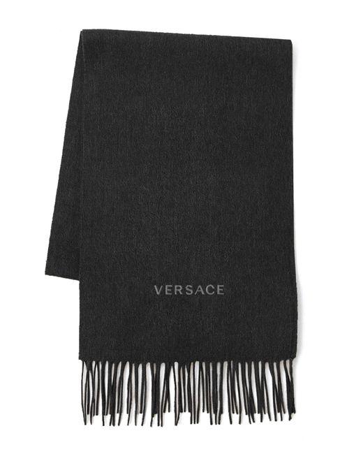 Versace - Gray Logo Wool Scarf - Lyst