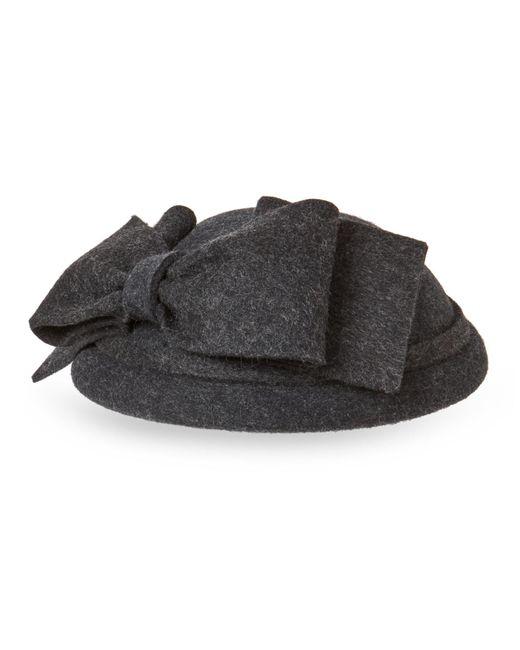 Kathy Jeanne - Gray Charcoal Wool Felt Disc Bow Hat - Lyst