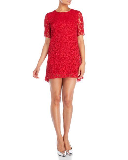 Adam Lippes | Red Back Pleat Short Sleeve Dress | Lyst