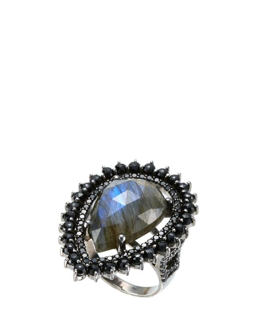 Bavna | Sterling Silver Labradorite & Black Spinel Ring | Lyst