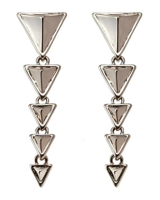 House of Harlow 1960 - Metallic Silver-Tone Triangle Drop Earrings - Lyst