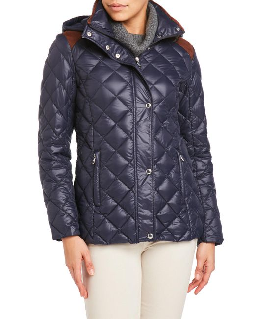 Lauren by Ralph Lauren | Blue Quilted Hooded Down Jacket | Lyst