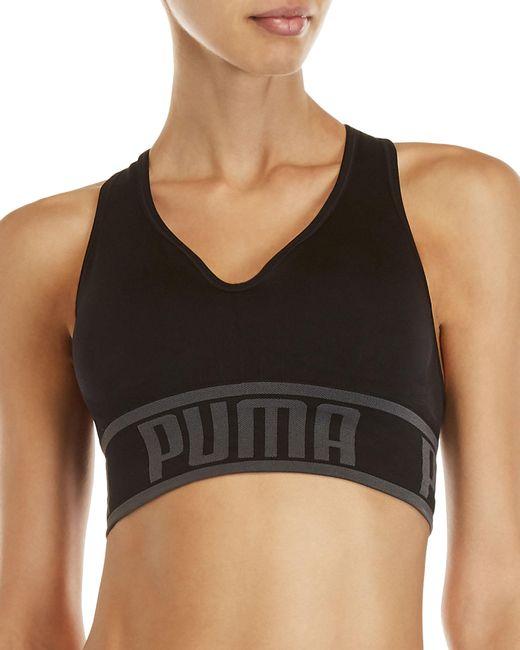 PUMA Black Seamless Apex Light Support Sports Bra