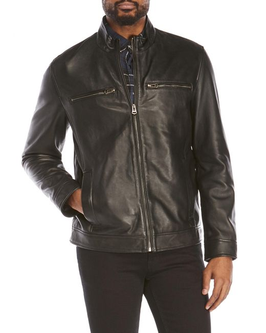 Cole Haan   Black Smooth Leather Moto Jacket for Men   Lyst