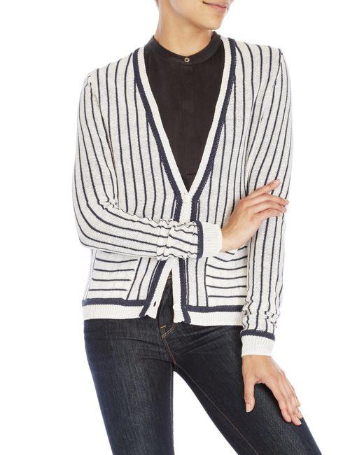 Shae | White Stripe Boyfriend Cardigan | Lyst