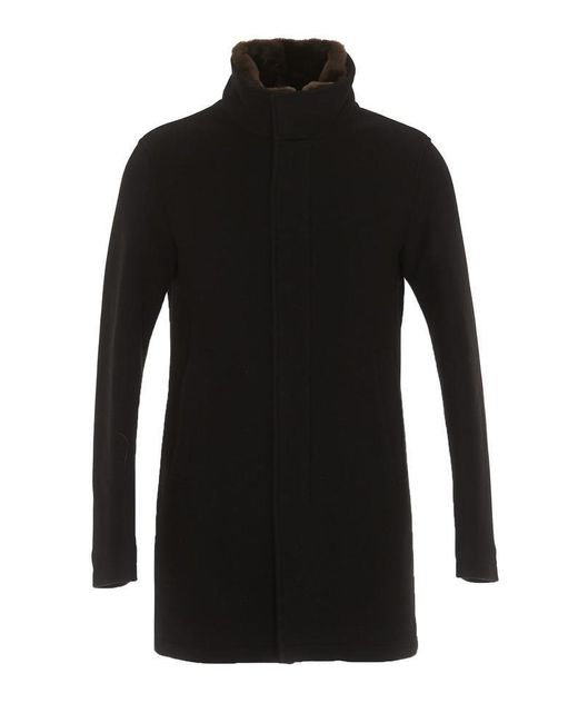 Herno - Black Fur Collar Coat for Men - Lyst