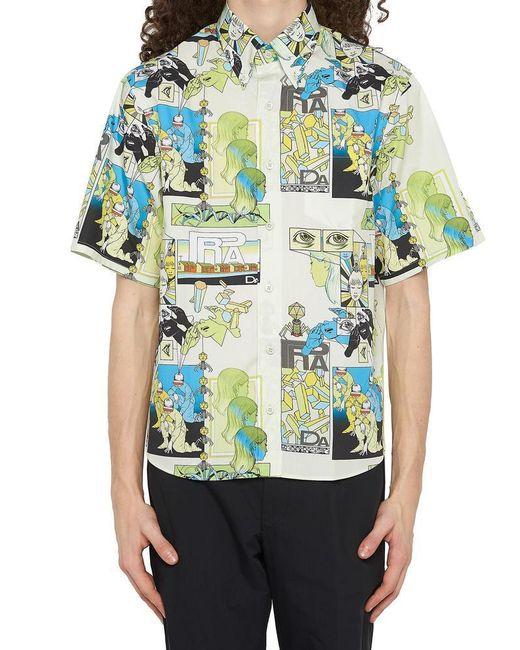 Prada - Blue Multicolor Comic Shirt - Lyst