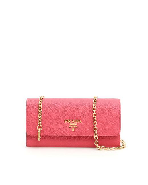Lyst - Prada Saffiano Clutch Bag in Pink 8c92bb2708b5c