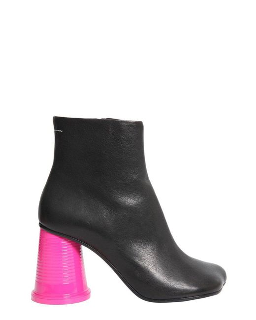 MM6 by Maison Martin Margiela - Black Contrast Heel Ankle Boots - Lyst