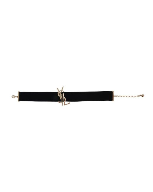 Saint Laurent - Black Monogram Choker Necklace - Lyst
